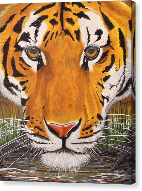 Drinking Tiger Canvas Print by Jeffrey Oldham