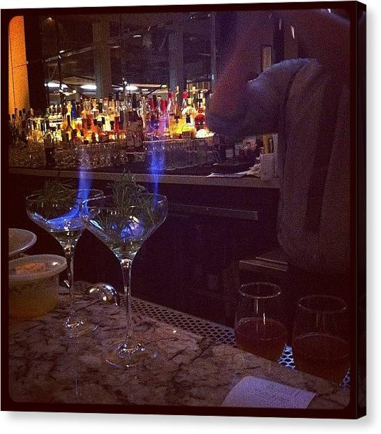 Bartender Canvas Print - #drinks #flame #veneto #fancy #cocktail by Emily Harris