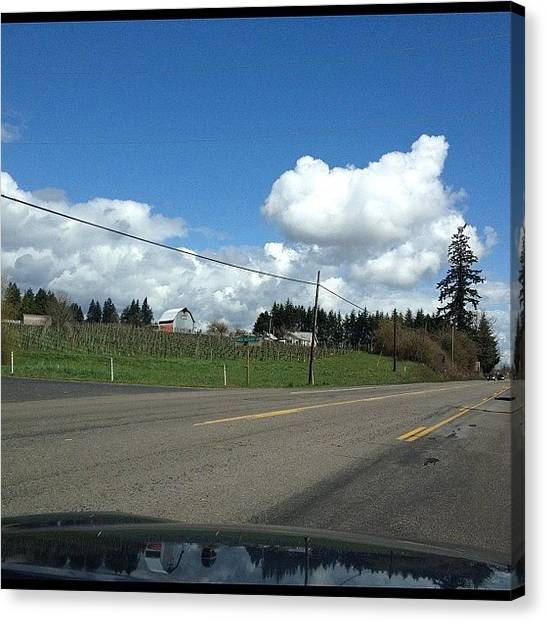 Farmhouse Canvas Print - Driving In #oregon #bluesky #clouds by Art Rocha