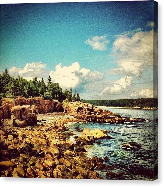 Ocean Cliffs Canvas Print - Driving On The Coast. #maine #acadia by Luke Kingma