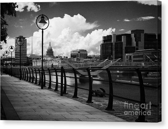 Project tiger canvas print dublin docklands financial area river liffey and sean ocasey footbridge dublin