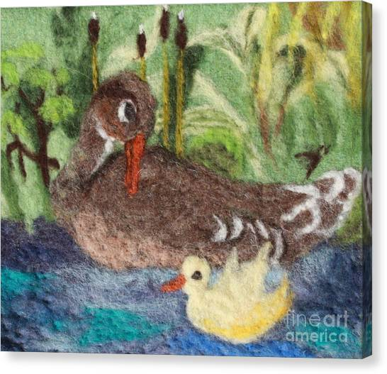 Duck And Duckling Canvas Print by Nicole Besack