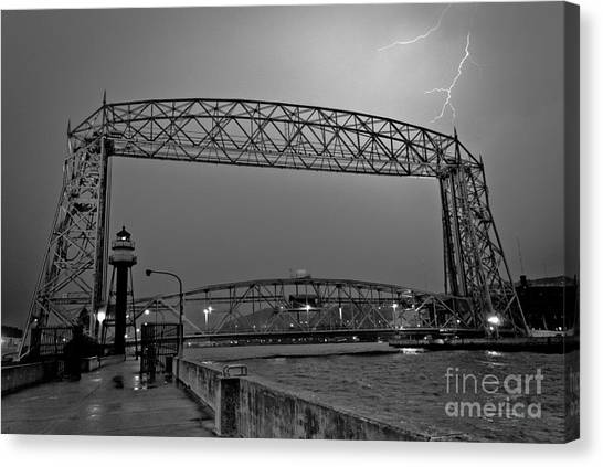 Duluth Lift Bridge Under Lightning Canvas Print