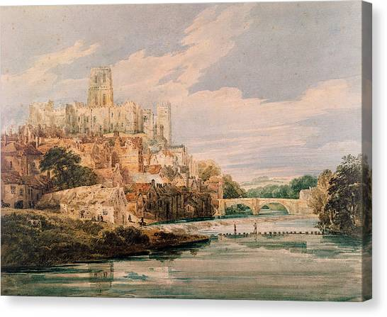 Romanesque Art Canvas Print - Durham Castle And Cathedral by Thomas Girtin