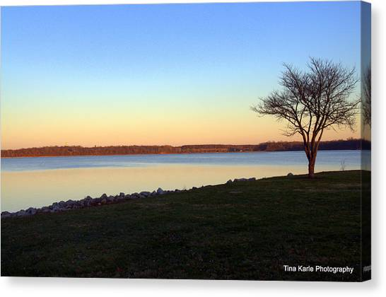 Dusk At The Lake Canvas Print by Tina Karle