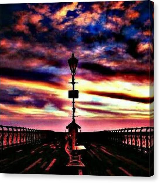 Ocean Sunsets Canvas Print - Dusk On The Pier. #sunset #dusk #sky by Mary Carter