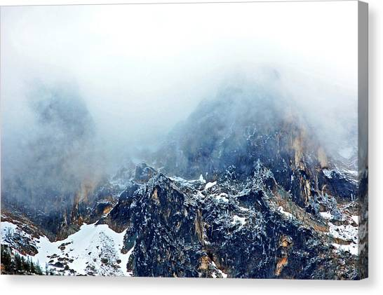 Canvas Print - Dusting The Peaks With Snow. by Randall Templeton
