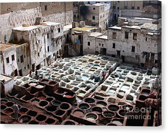 Dyeing Vats Of Fez Canvas Print by Steve Goldstrom
