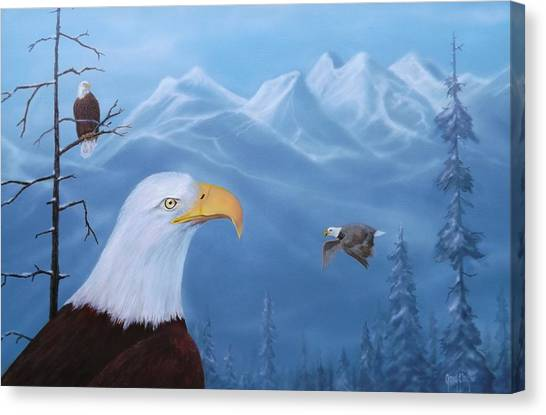 Eagles In The Tetons Canvas Print