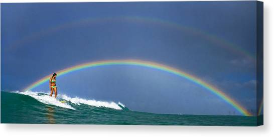 Ealy Morning Rainbow Surf Canvas Print by Li Ansefelt Thornton