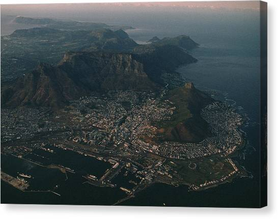 Republic Of South Africa Canvas Print - Early Morning Aerial View Of Cape Town by James L. Stanfield