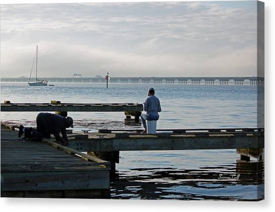 Crabbing Canvas Print - Early Morning Crabbing by Suzanne Gaff