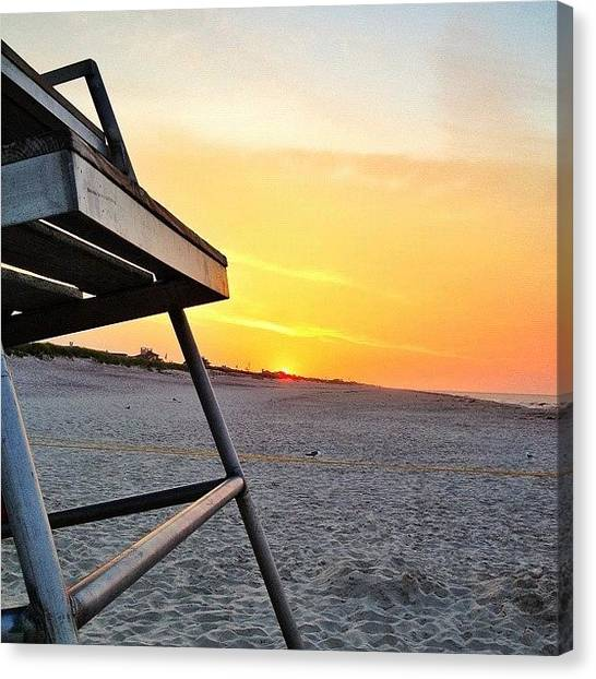 Beach Sunrises Canvas Print - Early Morning Work Out On The Beach by Noah Terry