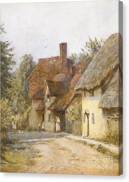 Town Canvas Print - East Hagbourne Berkshire by Helen Allingham