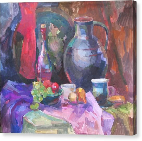 East Still Life With A Jug Canvas Print by Juliya Zhukova