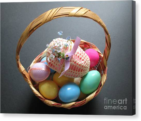 Easter Baskets Canvas Print - Easter Basket With Heirloom Love by Connie Fox