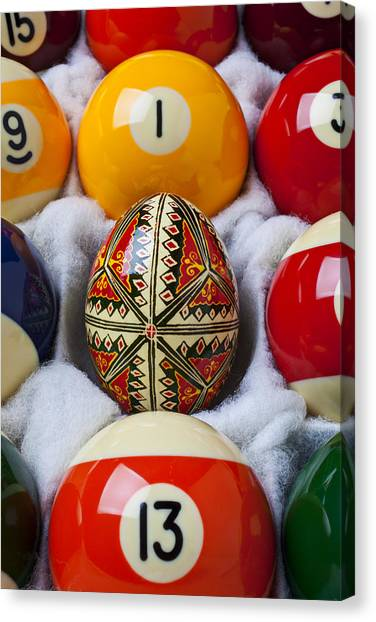 Easter Eggs Canvas Print - Easter Egg Among Pool Balls by Garry Gay