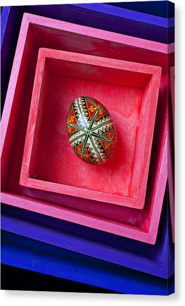 Easter Eggs Canvas Print - Easter Egg In Pink Box by Garry Gay