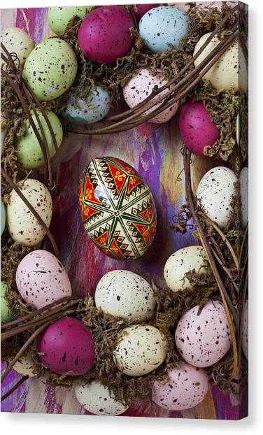 Easter Eggs Canvas Print - Easter Egg With Wreath by Garry Gay