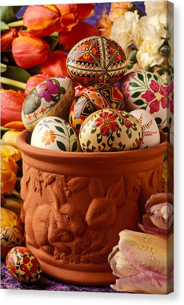 Easter Eggs Canvas Print - Easter Eggs In Flower Pot by Garry Gay
