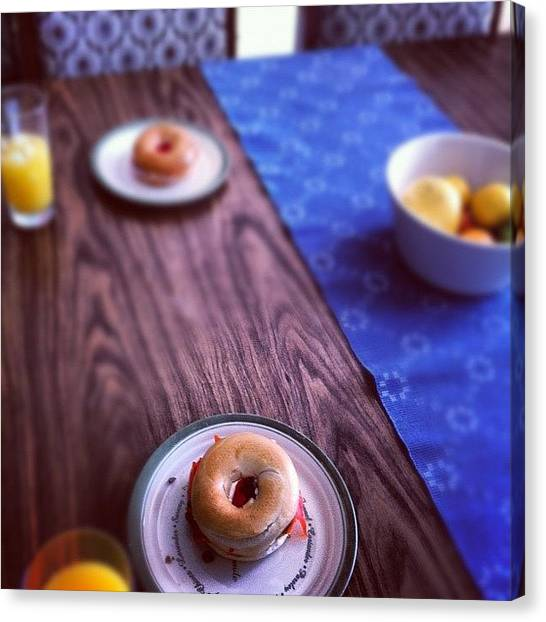 Salmon Canvas Print - Easter Lunch #salmon Bagels. Yumm by Marie Constant