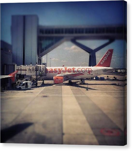 England Canvas Print - #easyjet #gatwick #airplane #airport by Abdelrahman Alawwad