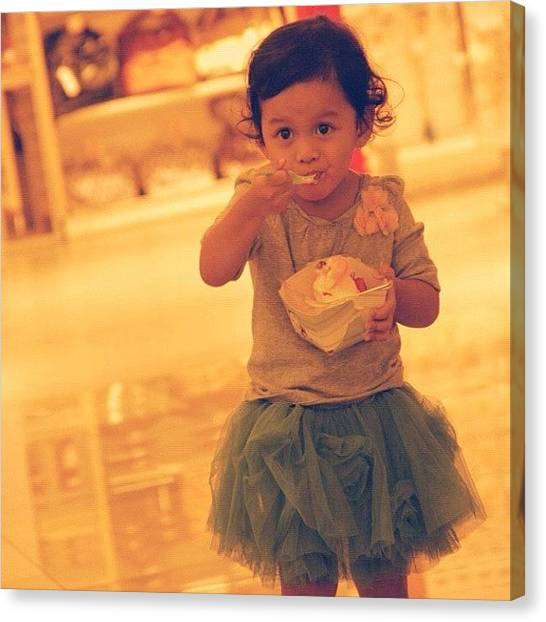 Social Canvas Print - Eating #icecream #happy #photograph by Venda Aryadi