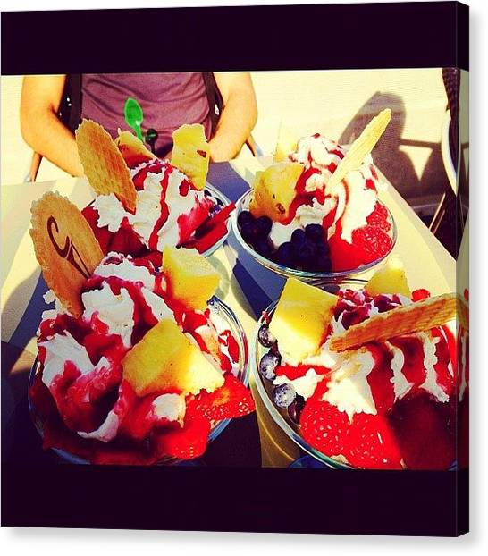 Strawberries Canvas Print - Eating Sundaes On A Sunday Because by Elbashir Idris