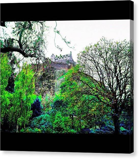 Princess Canvas Print - Edinburgh Castle From Princess Street by Avril O