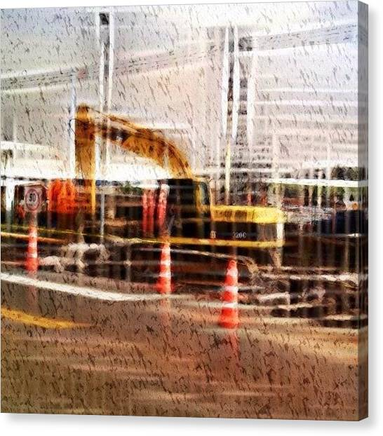 Equipment Canvas Print - #edit #editing A #backhoe #working On by Veronica Burbano