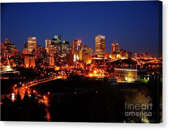 Edmonton Skyline Canvas Print by Rachel Duchesne