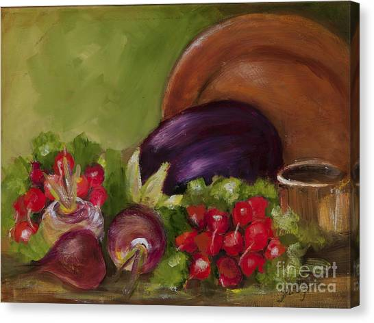 Eggplant And Radishes Canvas Print