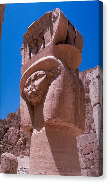 Egyptian Stone Goddess Canvas Print by Carl Purcell