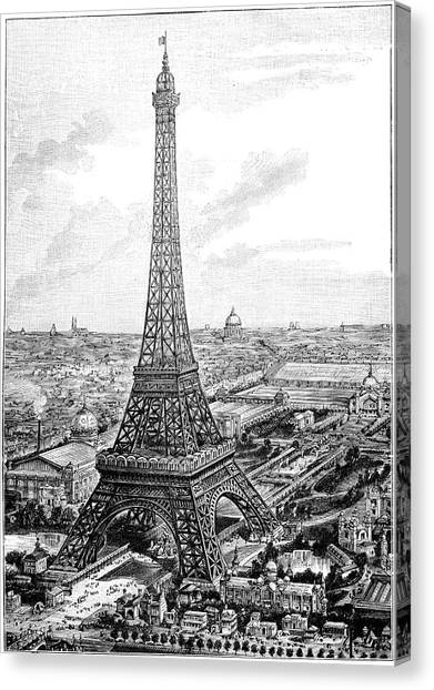 Les Invalides Canvas Print - Eiffel Tower, 1889 Universal Exposition by