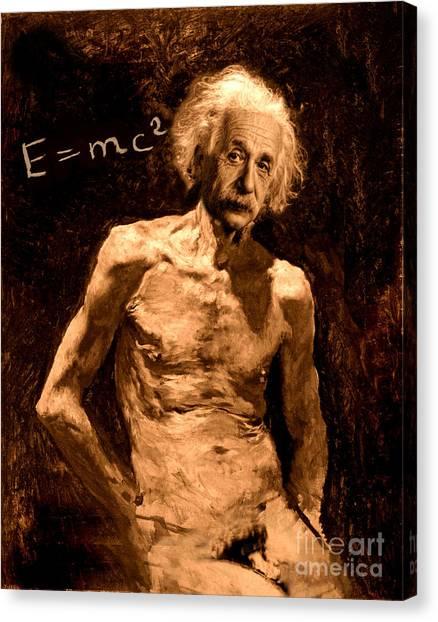 Einstein Relatively Nude Canvas Print