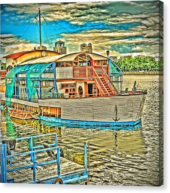 Russia Canvas Print - Ekaterinburg. River Iset. Cafe On by Igor Che 💎