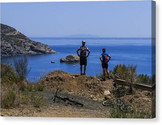Elba Island - Mtb Bikers Looking The Far Away Island - Ph Enrico Pelos Canvas Print