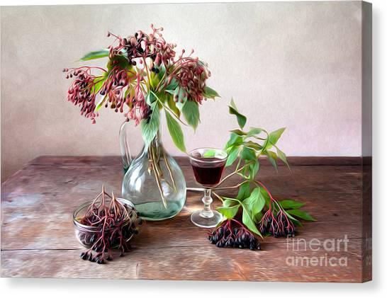Juice Canvas Print - Elderberries 02 by Nailia Schwarz