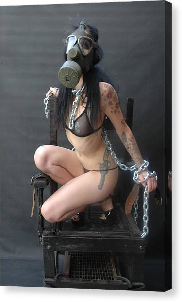 Sex Kitten Canvas Print - Electric Chair - Bound N Chained by Liezel Rubin