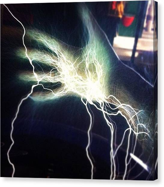 Hands Canvas Print - #electricity #hand #static #lightning by Lowri Pendrell Photography