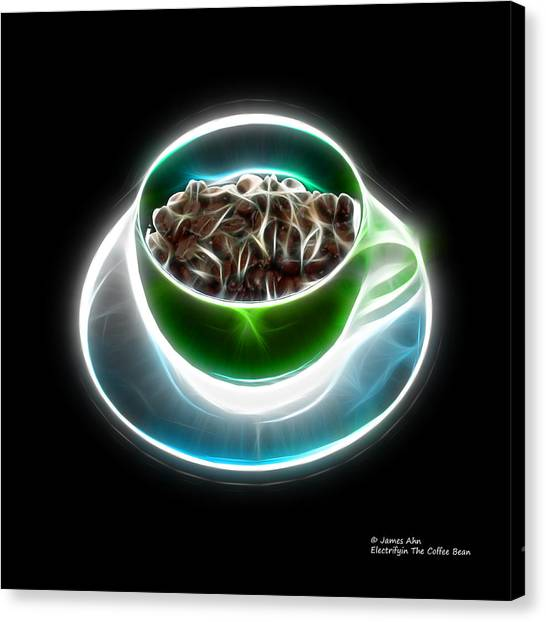 Electrifyin The Coffee Bean -version Green Canvas Print