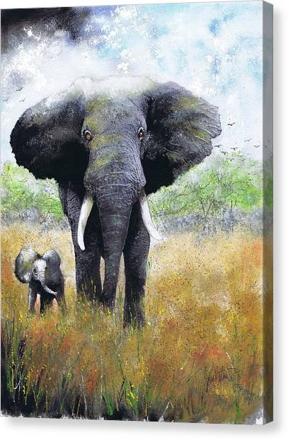 Elephant And Baby Canvas Print