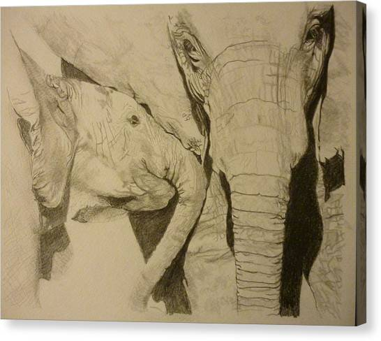 Pigatopia Canvas Print - Elephant Calm And Mommy 9 X 12 Inch Drawing By Pigatopia by Shannon Ivins