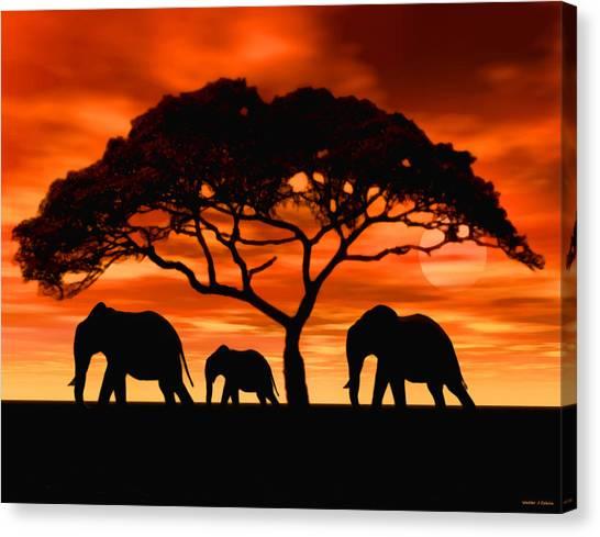Elephant Sun Set Canvas Print