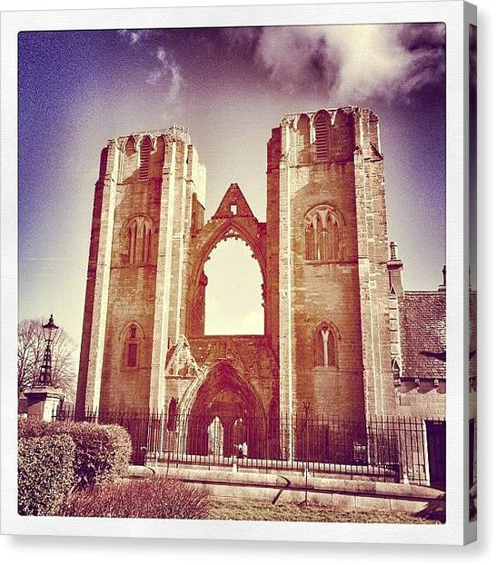 Medieval Canvas Print - Elgin Cathedral #moray #buildings by Robert Campbell
