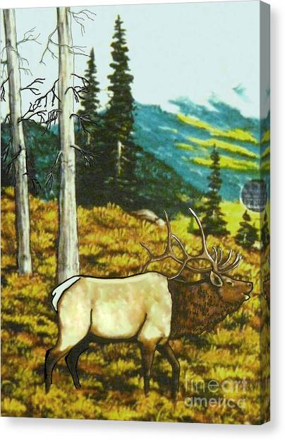 Elk In The Mountains Canvas Print by Bobbylee Farrier