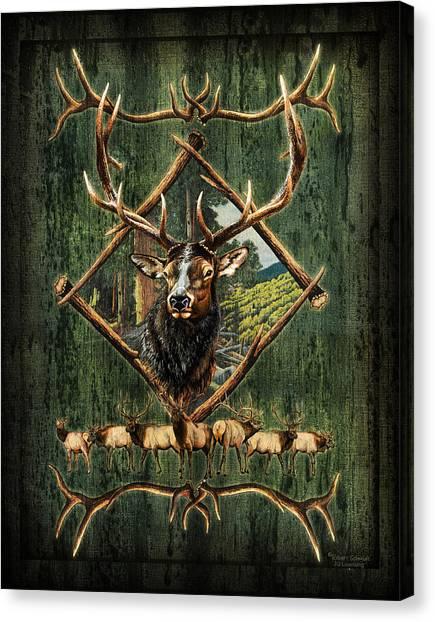 Birch Canvas Print - Elk Lodge by JQ Licensing