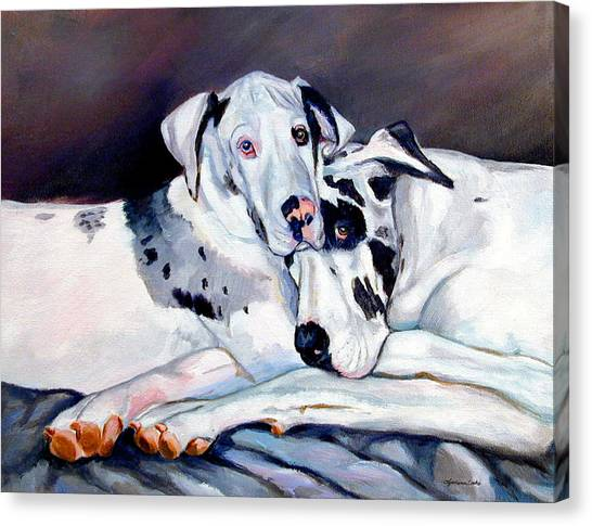 Great Danes Canvas Print - Embrace by Lyn Cook