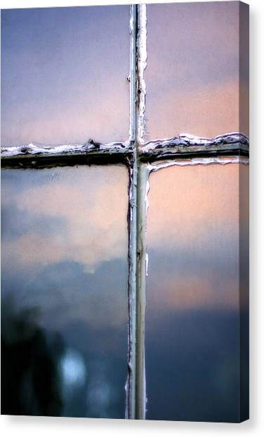 Empty Cross On The Window Of An Old Church Canvas Print