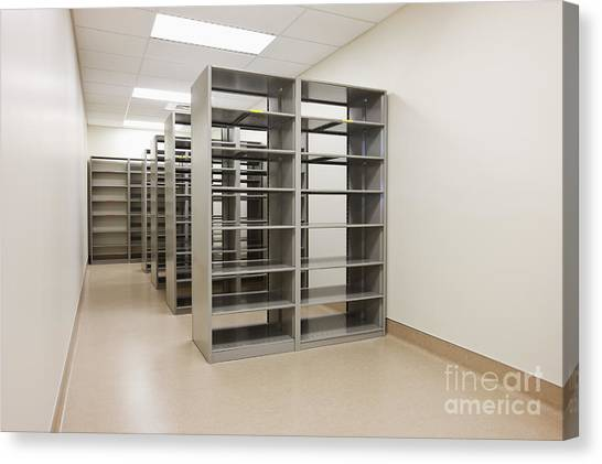 Not In Use Canvas Print - Empty Metal Shelves by Jetta Productions, Inc